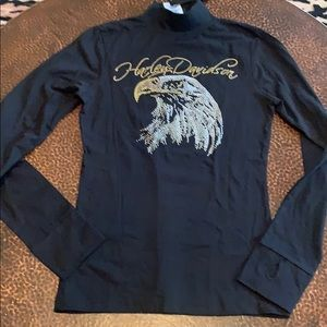 NWT Harley Davidson eagle mock turtle neck l/s top